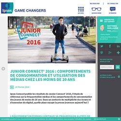 Junior Connect' 2016 : comportements de consommation et utilisation des médias chez les moins de 20 ans