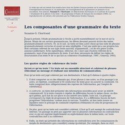 Les composantes d'une grammaire du texte