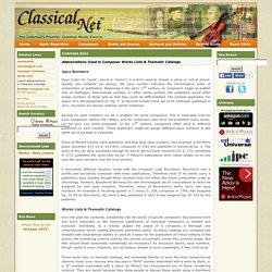 Composer Data - Thematic Catalogs
