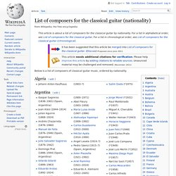 List of composers for the classical guitar (nationality)