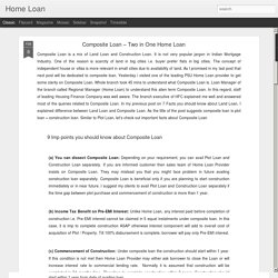 Home Loan: Composite Loan – Two in One Home Loan