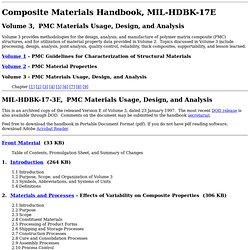 Composite Materials Handbook, MIL-HDBK-17, Volume 3