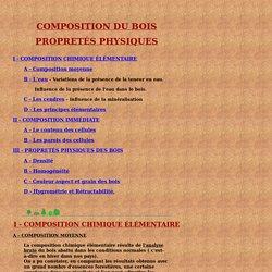 COMPOSITION DU BOIS PROPRETÉS PHYSIQUES