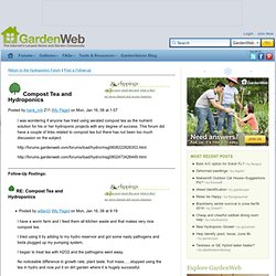 Compost Tea and Hydroponics - Hydroponics Forum