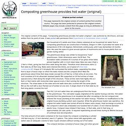 Composting greenhouse provides hot water