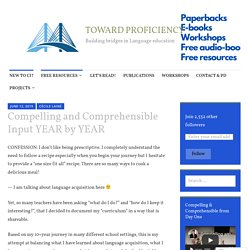 Compelling and Comprehensible Input YEAR by YEAR – TOWARD PROFICIENCY