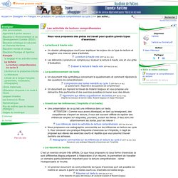 Les activités de lecture compréhension- Pédagogie - Direction des services départementaux de l'éducation nationale du 17