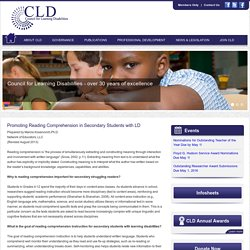 Promoting Reading Comprehension in Secondary Students with Learning Disabilities
