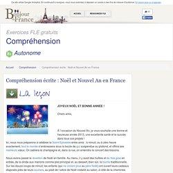 Compréhension écrite : Noël et Nouvel An en France