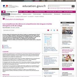 Les compétences des élèves en compréhension des langues vivantes étrangères en fin de collège