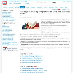 Free English Reading comprehension tests and exercises online