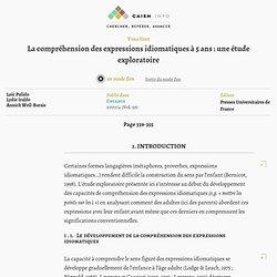 La compréhension des expressions idiomatiques à 5ans: une étude exploratoire