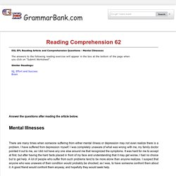 Reading Comprehension 62 - Mental Illnesses