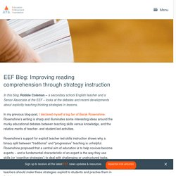 EEF Blog: Improving reading comprehension through strategy instruction