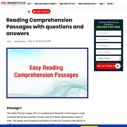 Reading Comprehension Passages with questions and answersReading Comprehension Passages with questions and answers