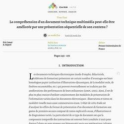 La compréhension d'un document technique multimédia peut-elle être améliorée par une présentation séquentielle de son contenu?