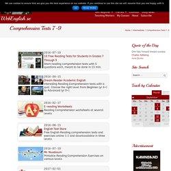 Comprehension Tests 7-9 ⋆ WebEnglish.se