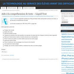 Aide à la compréhension de texte – Liquid Text