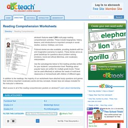 Reading Comprehension Worksheets and Printables: Fiction, Non-Fiction, Holidays page 1