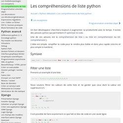 Les compréhensions de liste python