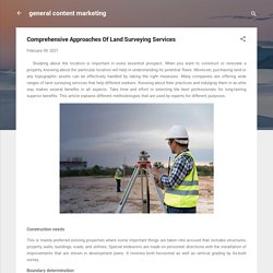 Comprehensive Approaches Of Land Surveying Services