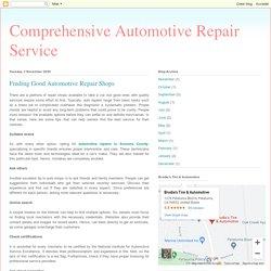 Finding Good Automotive Repair Shops