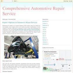 Expert's Opinion on Automotive Repair Services