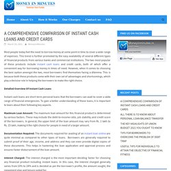 A Comprehensive Comparison Of Instant Cash Loans And Credit Cards