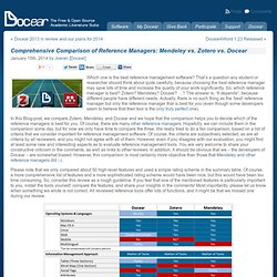 Comprehensive Comparison of Reference Managers: Mendeley vs. Zotero vs. Docear « Docear