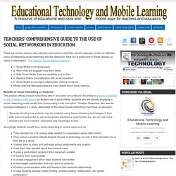 Teachers' Comprehensive Guide to The Use of Social Networking in Education
