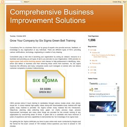 Grow Your Company by Six Sigma Green Belt Training