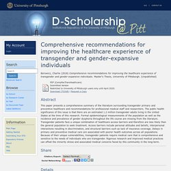 Comprehensive recommendations for improving the healthcare experience of transgender and gender-expansive individuals - D-Scholarship@Pitt