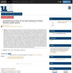 UNIVERSITE DE BOURGOGNE - 2013 - Thèse en ligne : Etude de la résistance à la chaleur des spores de Bacillus subtilis déshydratées