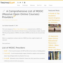 A Comprehensive List of MOOC (Massive Open Online Courses) Providers