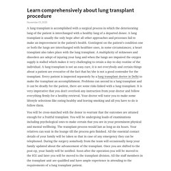 Learn comprehensively about lung transplant procedure