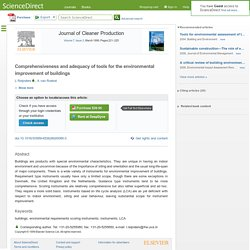 Comprehensiveness and adequacy of tools for the environmental improvement of buildings