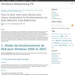 Tout ce dont vous avez besoin pour mieux comprendre le fonctionnement du NLB (Network Load Balancing) - Windows Networking FR