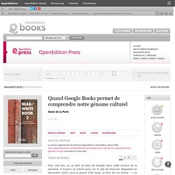 Read/Write Book 2 - Quand Google Books permet de comprendre notre génome culturel
