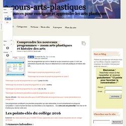 Comprendre les nouveaux programmes - zoom arts plastiques et histoire des arts