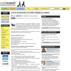Lire et comprendre une offre rédigée en anglais