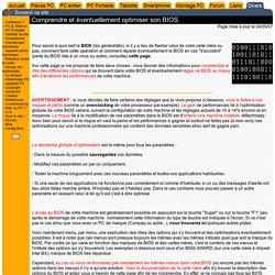 - Comprendre, régler et optimiser votre BIOS