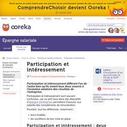 Participation, intéressement : principe - ComprendreChoisir