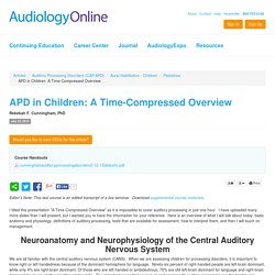 APD in Children: A Time-Compressed Overview Rebekah F. Cunningham Auditory Processing Disorders (CAP/APD) Aural Habilitation - Children Pediatrics 11953