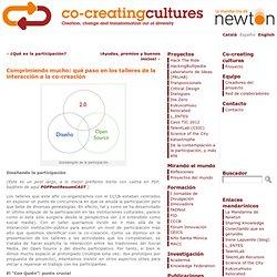 """Comprimiendo mucho: qué paso en los talleres """"de la interacción a la co-creación"""" « Co-creatingcultures"""