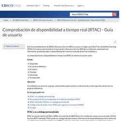 Comprobación de disponibilidad a tiempo real (RTAC) - Guía de usuario - EBSCO Help
