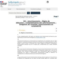 BIC - Amortissements – Règles de déduction – Comptabilisation des amortissements – Obligation de constater l'amortissement en comptabilité
