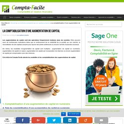 La comptabilisation d'une augmentation de capital