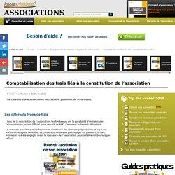 Comptabilisation des frais liés à la constitution de l'association