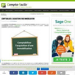 Comment comptabiliser une acquisition d'immobilisation ?
