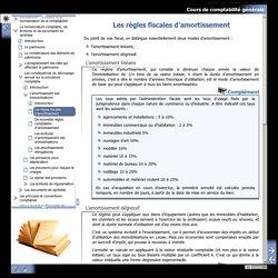 Cours de comptabilité générale - Les règles fiscales d'amortissement